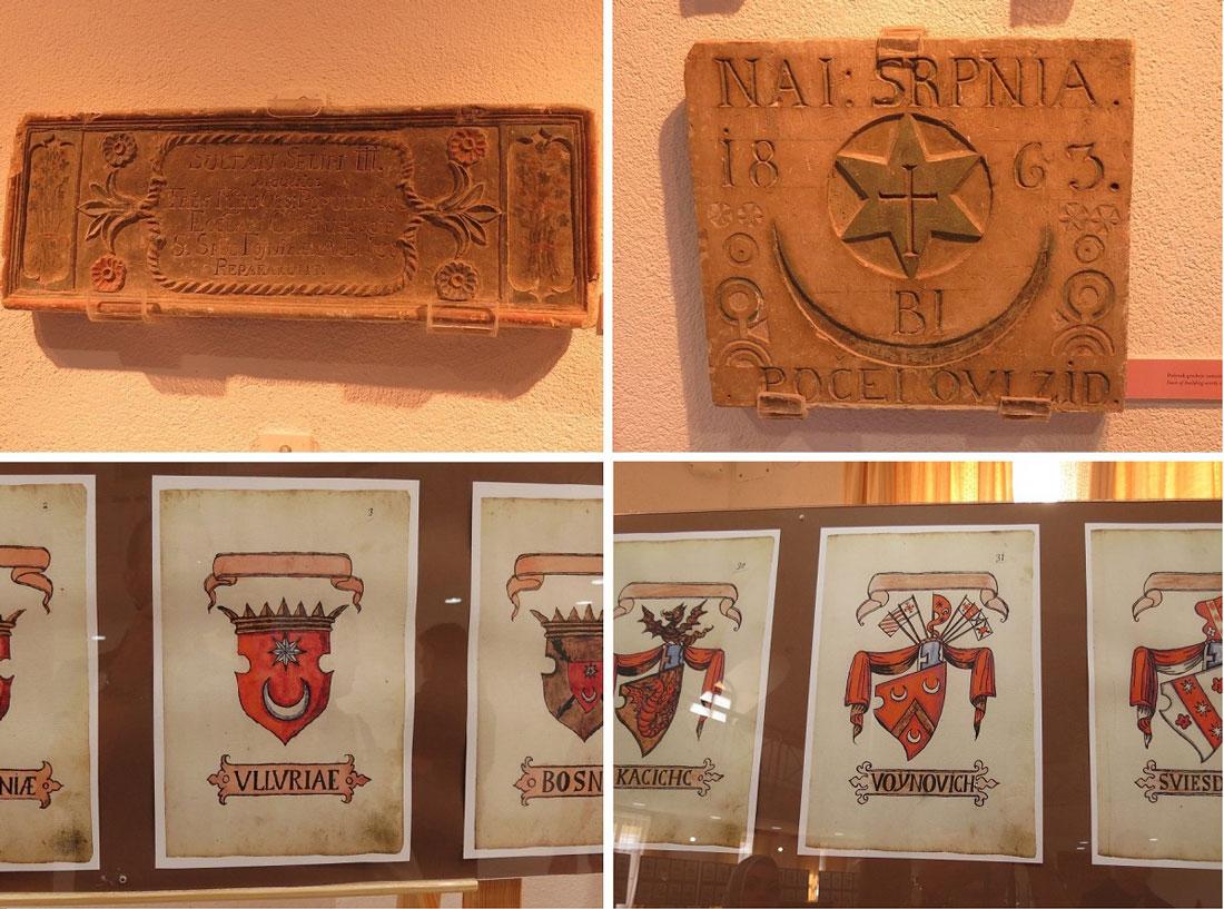 Manastır'da sergilenen kitabe ve arma örnekleri