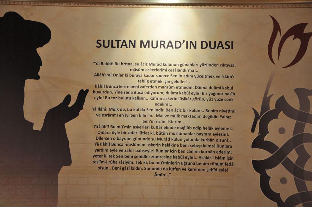 Türbe'deki Müze içerisinde Sultan Murad'ın duası