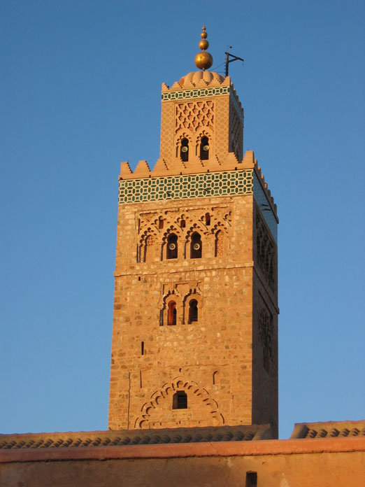 Marakeş'te Kutubiye Camii'nin minaresi
