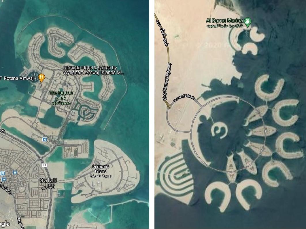 Deniz doldurularak elde edilen iki bölge. Google Maps uydu görüntüleri.