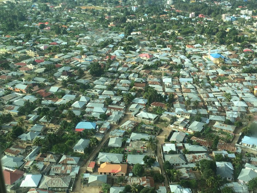 Zanzibar evlerinin havadan görünüşü