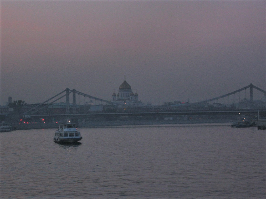 Moskova Nehri'nde akşam tekne sefası