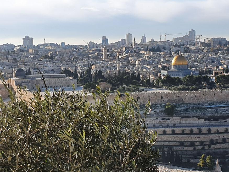 Zeytindağı'ndan Mescid-i Aksa manzarası. Soldaki gri kubbe Kıble Mescidi'ne, sağdaki altın rengi kubbe Kubbetü's-Sahra'ya ait