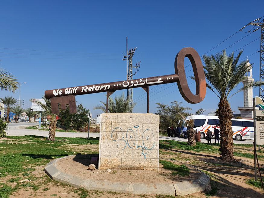 Eriha'nın girişindeki bu anahtar, İsrail'in sürgün ettiği Filistinlilerin bu topraklara geri döneceklerine dair ettikleri yemini temsil ediyor