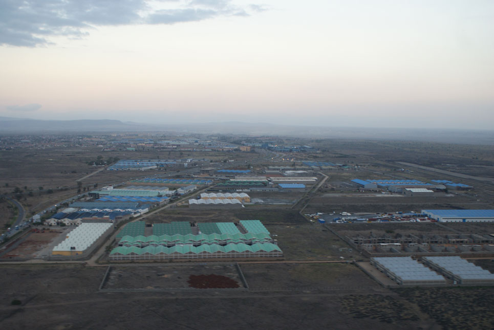 Nairobi'de bir sanayi bölgesi