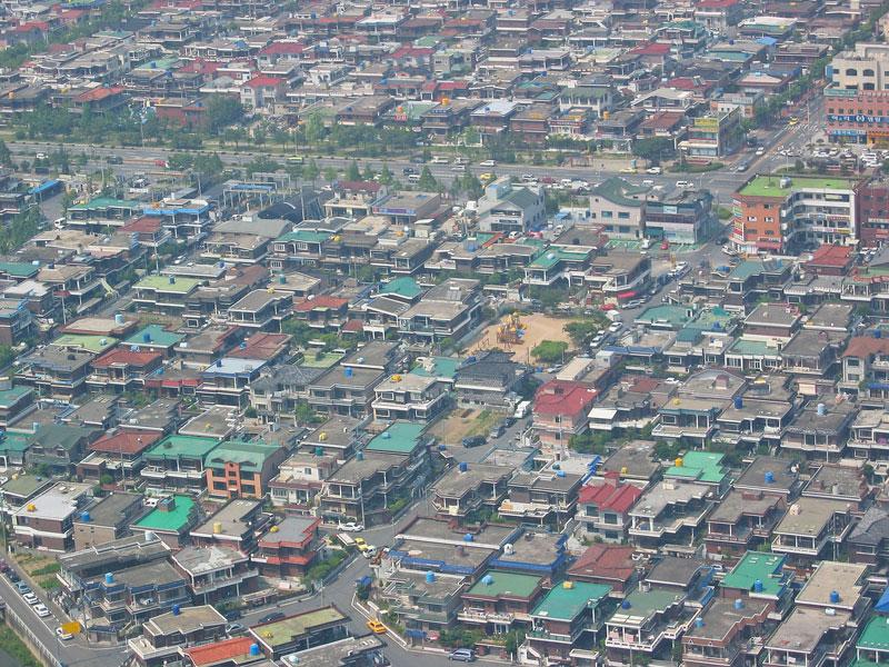 Seul'ün bir mahallesinin helikopter görüntüsü