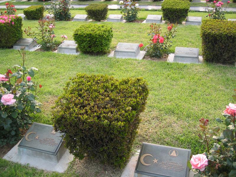 """Mezar taşlarında şehitlerin adları yazılı. Hepsinin ortak adı """"Mehmetçik""""..."""