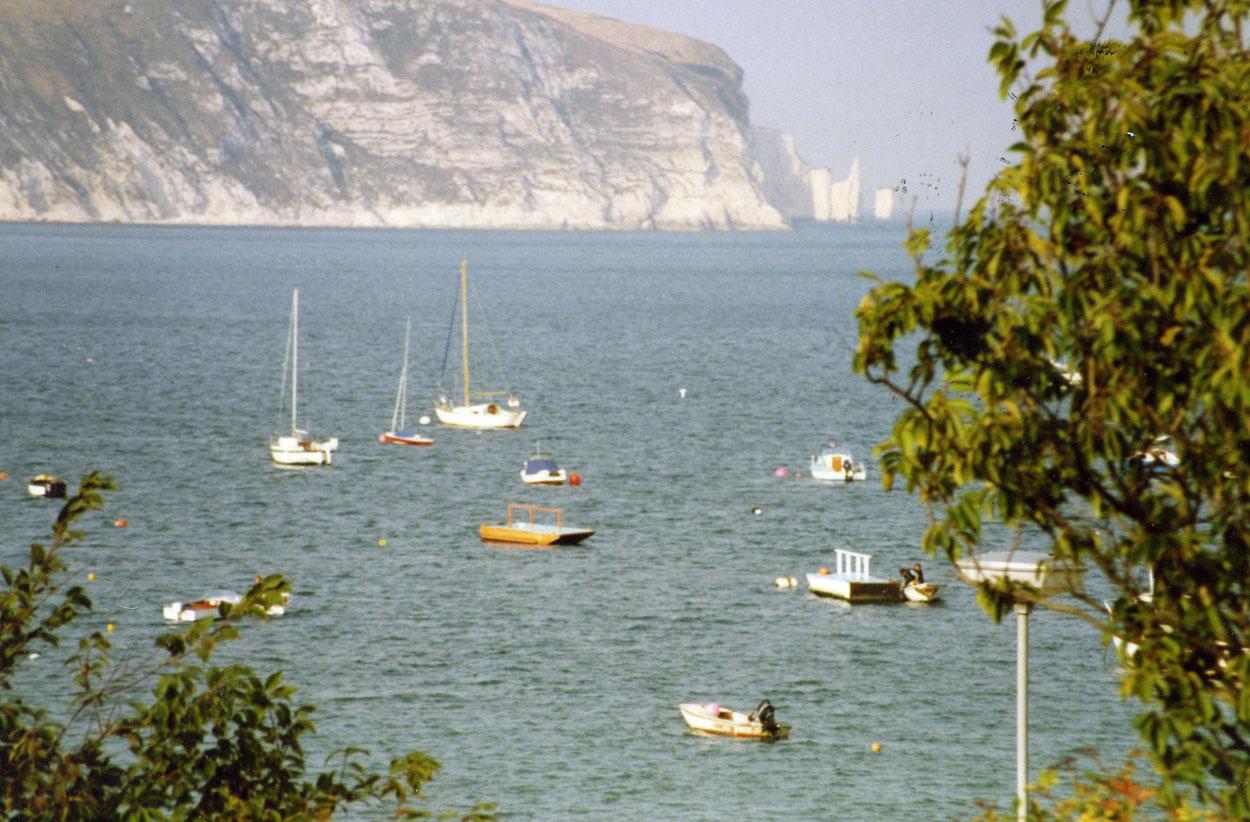 Bournemouth yakınlarındaki Swanage kasabasından bir görünüm