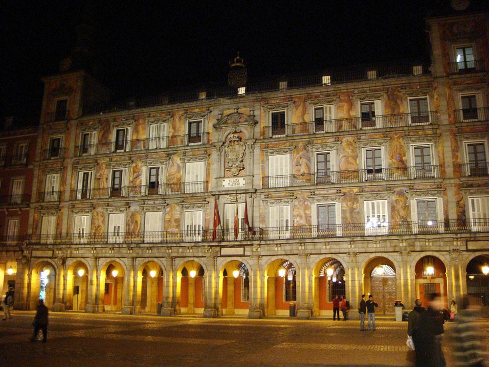 Gece vakti Plaza Mayor